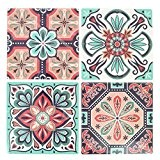 4 stickers deco Mosaïques 12x12cm style Azulejos/Carreaux de ciment Mint