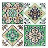 4 stickers deco Mosaïques 12x12cm style Azulejos/Carreaux de ciment Vert