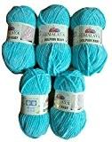 5x 100g super doux et super Bulky Himalaya Dolphin Baby 80315Turquoise Couleur, laine à tricoter et crochet