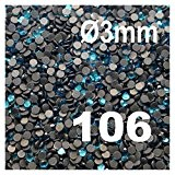 500 Strass thermocollant Rhinestone Hotfix [Ø3mm s10] N° 106-TURQUOISE-BLEU