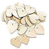 50pcs 4x4cm Etiquette Embellissements Coeur Vierges en Bois Pour Artisanat Décoration
