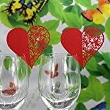 50pcs Carte de Verre Marque Place Forme de Coeur Décoration de Table pour Mariage - Rouge