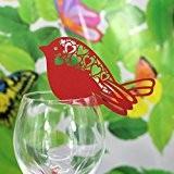 50pcs Marque Place Oiseau Mariage Carte Porte Nom Décor Verre Table Rouge