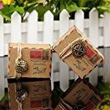 50pz boîtes Cube portaconfetti marque-place Thème voyage monde Corde de chanvre accessoires Vintage Y Compris globo