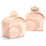 50x Boite a Dragees couronne Mariage Bapteme ROSE Decoration table Fete Favor Box