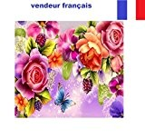 5D Broderie diamant toile entière, kit complet VENDEUR FRANÇAIS (fleurs colorées 40 x 31)