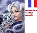 5D Broderie diamant toile entière, kit complet VENDEUR FRANÇAIS ... (la dame et bébé tigre 46x46)