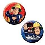 """6 badges rouges et bleus """"To The Rescue"""" Sam Le Pompier"""