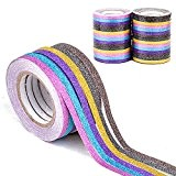 6pcs Glitter Washi Tape Ruban Adhésives Papeterie Scrapbooking Masquage Décoratif 6,5mx0,5cm + 1 Strass Acrylique Ruban