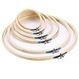 6x Tambour à broder en bambou Cercle pour broderie point de croix 10 13 17 20 26 30cm