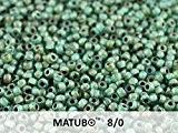 8/0 Matubo - 10gr (env. 300 pcs) Tchèque pressé perles de verre, Perles de rocaille 3.1mm Couleur: Aquamarine Picasso