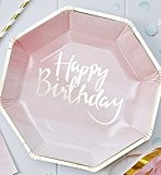 8 Assiettes Happy Birthday Rose et Or
