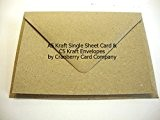 A5 Kraft Carte postale vierges et enveloppes par Cranberry Card Company, Kraft Natural Brown, A5 148mmx210mm C5 162x229mm