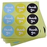 """ACMEDE - 100 Feuilles """"Thank you"""" Autocollant Etiquette Décoration Pour Fabrication de Carte Emballage Cadeau - 3 Couleurs"""