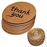 """ACMEDE - 500pcs """"Thank you"""" Étiquettes En Papier Kraft Rondes Pour Décoration Cadeau Mariage Anniversaire Noël Gift Tags Avec Cordon ..."""