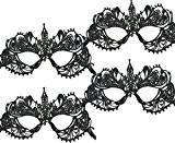 ACMEDE - Masque Femme Sexy de Dentelle Noir Pour Halloween Fête Costume Mascarade Carnaval (4 Pcs)