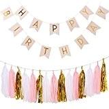 Ailiebhaus Anniversaire Bruant Bannière Guirlandes Golden Pack avec des Glands de papier pour Happy Birthday Décorations (Rose)