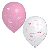 Amscan Lot de 6 ballons gonflables pour baptême Blanc/rose
