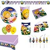 Amscan Set de décoration Maya l'abeille avec assiettes, gobelets, serviettes, nappe, sachets, guirlande, cartes d'invitation, ballons, pailles