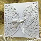 Anself 10Pcs Cartes d'Invitation Mariage Romantique pour Fête Mariage avec Rubans