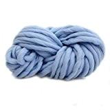 Anti-boulochage épais Fils acryliques doux Echarpe laine à tricoter Travail tricoté à la main en laine bleu