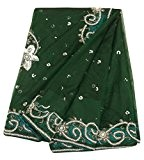 Antique Saree Indien Vintage Manche Net Perle Beaded Tissu Vert Sarong Sari 5 Yard