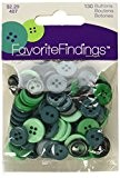 Apprêt préférée Bouton Assortiment de boutons, en plastique, vert, 10-15mm, 40g