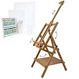 Artina - Chevalet en bois de hêtre «Lyon» + Set de 26 pièces pour peinture aquarelle
