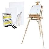 Artina malette Chevalet en bois de pin + Ensemble pour peinture acrylique, tubes et accessoires - XXL