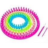 Bague 6pièces en tricot knitting loom + 1fil aiguilles-1en tricot Crochets-avec instructions-Facile à utiliser (Ø 29cm-24cm-19cm-14cm)