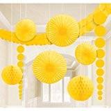 Balles en nid d'abeille kit décoration guirlande boules de papier lampions éventail rosace jaune Balles pompons pour decorer déco d'ambiance ...