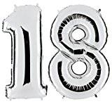 Ballon chiffre 18en argent-Nombre de géant XXL 100cm-pour 18ème anniversaire-Party Décoration cadeau ballon gonflable ballon Happy Birthday