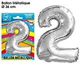 BALLON FETE METALIQUE CHIFFRE ET LETTRE 2 - TOCADIS