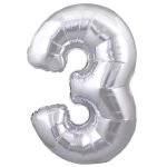 Ballon Gonflable A l'Helium Chiffre 3 Métallisé Argenté 76,2 cm