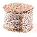 Bande toile, ailiebhaus 5m jute/toile Frange Craft Ruban avec dentelle pour Vintage/rustique Thème Mariage