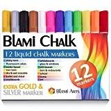 Blami Arts 12 marqueurs à craie liquide et les couleurs métalliques OR et ARGENT