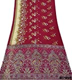 Bordeaux Vintage Sari Soie Mélange Floral Décor Tissu Indien Femmes Envelopper Bollywood Sarong Saree Voile