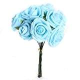 Bouquet 10pcs Fleur Artificiel Rose en Mousse Bleu Déco Mariage Maison