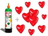 Bouteille d'hélium + 10 ballons de baudruche en forme de coeur rouge, la bouteille d'hélium est jetable non rechargeable ''Elio ...