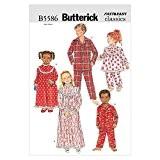 Butterick Patterns b5586Patron enfants/filles/garçons chemise de nuit haut et pantalon pour femme, lot de 1, Blanc
