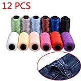 Candora® Ensemble de fil Jeans, Polyester Bobine de fil à coudre 12couleurs 164,6m/165m très épais pour Denim Cuir Lit Couverture ...