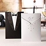 Caractéristique conçu marié et mariée Noir Blanc & en Carte d'Invitation de mariage avec enveloppes assorties, et assorti avec cartes ...