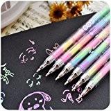 Caxmtu 3pcs papeterie Eau Craie DIY Couleur pastel Pen Rainbow Stylo à encre gel aquarelle 6en 1coloré marqueur pour les ...
