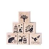 Ccinee Lot Lot de 6pcs Forêt Tampons en caoutchouc en bois style pour le scrapbooking à la main, artisanat et ...
