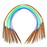 """Celine Lin 18Tailles 121,9cm """"(120cm) Aiguilles à tricoter circulaires en bambou carbonisé coloré (2mm-10mm)"""