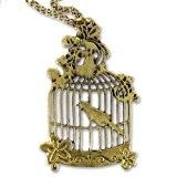 Chaine et pendentif cage à oiseau 58 mm doré vieilli x1