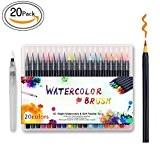 Cofive 20 Couleurs haute qualité Brush Pen Set, réel souple flexible Brush Tip, créer d'effet d'aquarelle - Idéal pour les ...