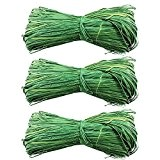 Com-Four Lot de 3 raphia naturel Raffia Vert 3 x 50 g