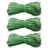 Com-Four Lot de 3raphia naturel Raffia Vert 3x 50g