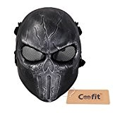 Coofit Sac The Punisher pour airsoft/paintball BB Gun complet masque de protection visage masque Halloween Lunettes de sécurité multicolore Argent/Noir ...